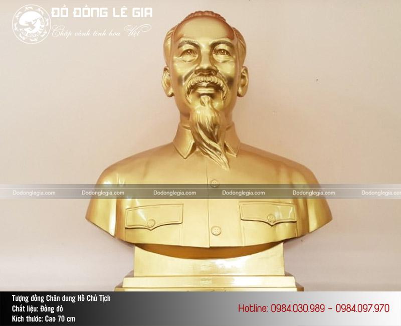 Tượng Bác Hồ bán thân bằng đồng cao 70cm
