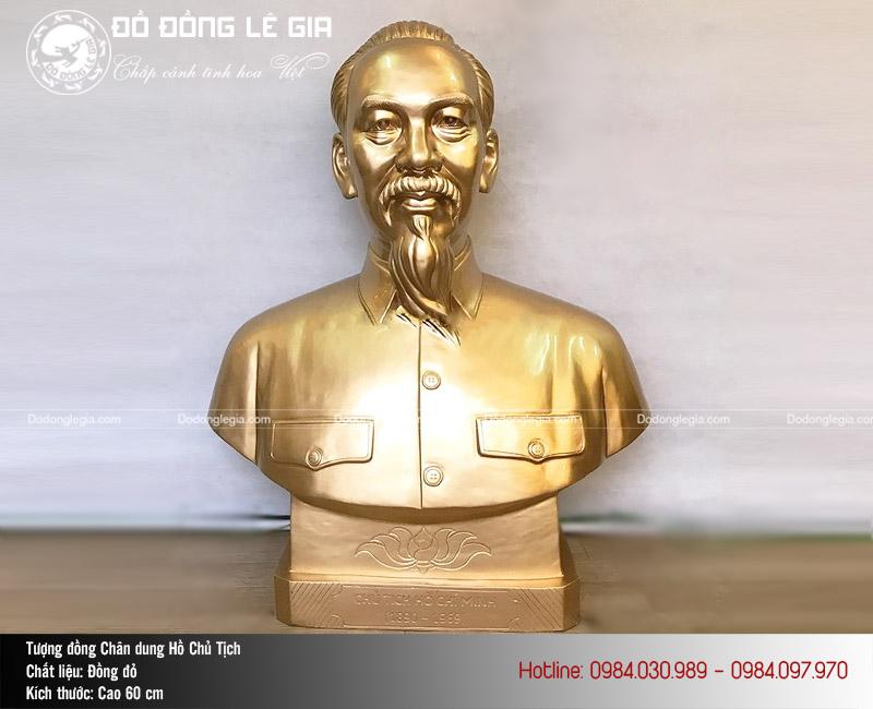 Tượng Bác Hồ bán thân bằng đồng cao 60cm