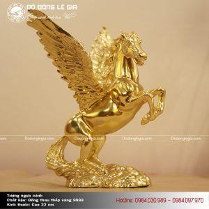Tượng linh vật Ngựa cánh thếp vàng 9999