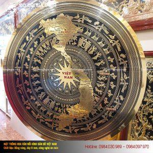 Mặt trống đồng ăn mòn hình Bản đồ Việt Nam