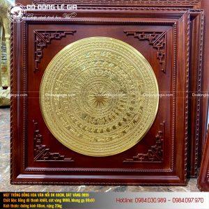 Tranh mặt trống đồng đường kính 60cm dát vàng 9999 Khung gỗ gụ