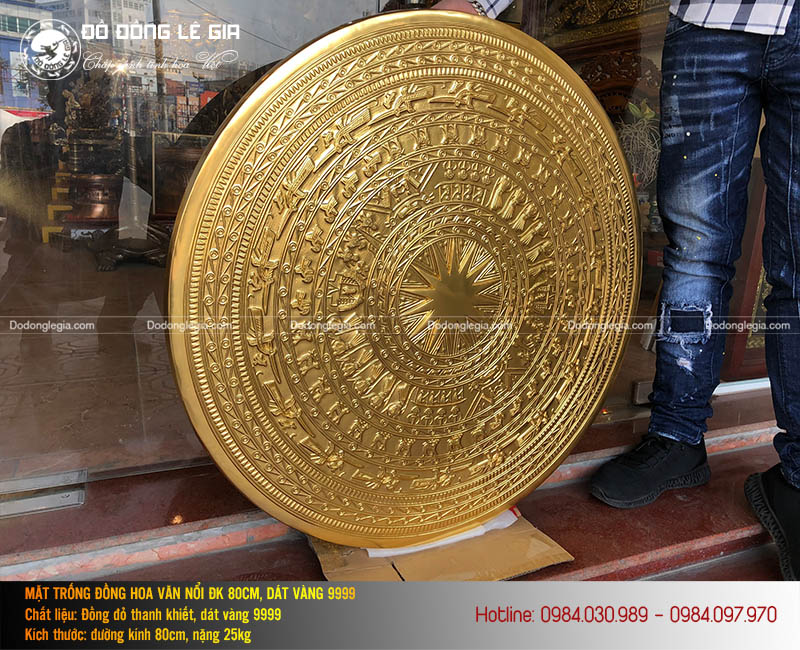 Mặt trống đồng đường kính 80cm dát vàng 9999