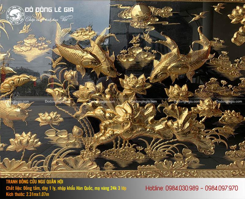 Tranh Cửu Ngư Quần Hội Mạ Vàng 2m31x1m07