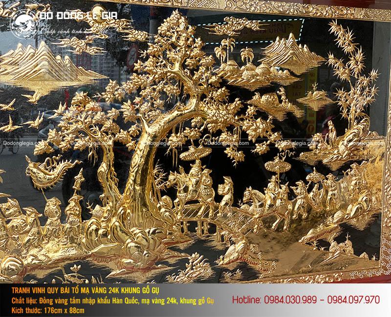 Tranh Vinh quy Bái tổ mạ vàng 24k Khung gỗ gụ