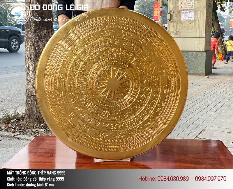 Mặt trống đồng Ngọc Lũ thếp vàng 9999 đường kính 81cm