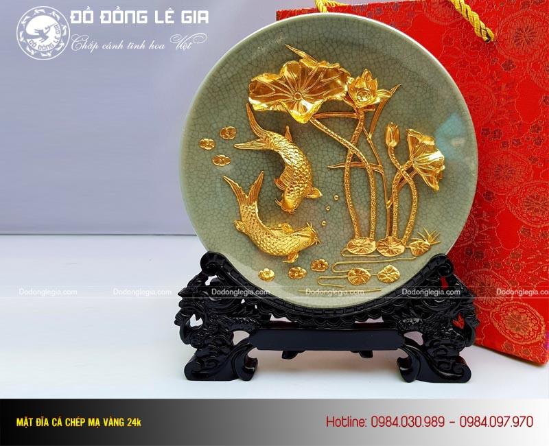 Tranh Cá Chép quà tặng mạ vàng 24k