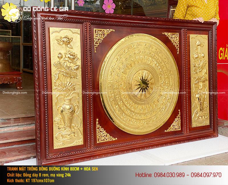 Vẻ đẹp của bức tranh mặt trống đồng hoa sen mạ vàng 24k của Lê Gia