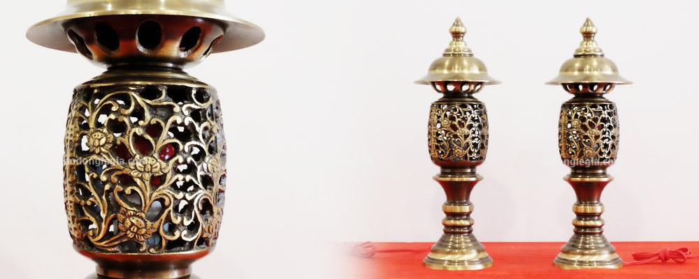 đèn thờ bằng đồng hai công nghệ