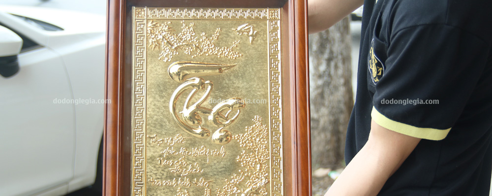 tranh đồng chữ thọ mạ vàng